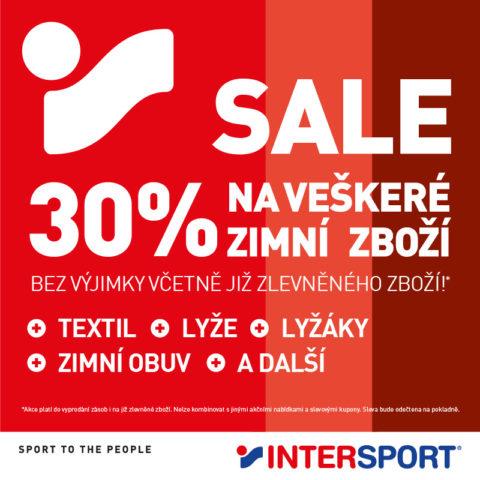 Sleva 30 % na zimní zboží v INTERSPORT